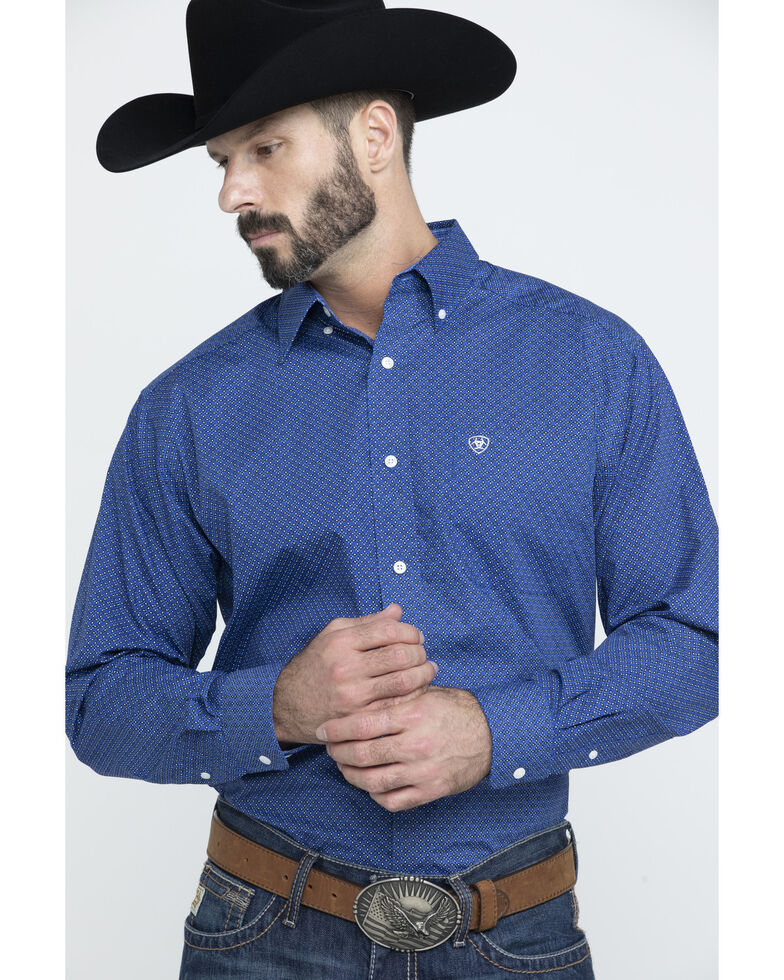 Ariat Men's Wrinkle Free Parton Geo Print Long Sleeve Western Shirt - Big , Multi, hi-res