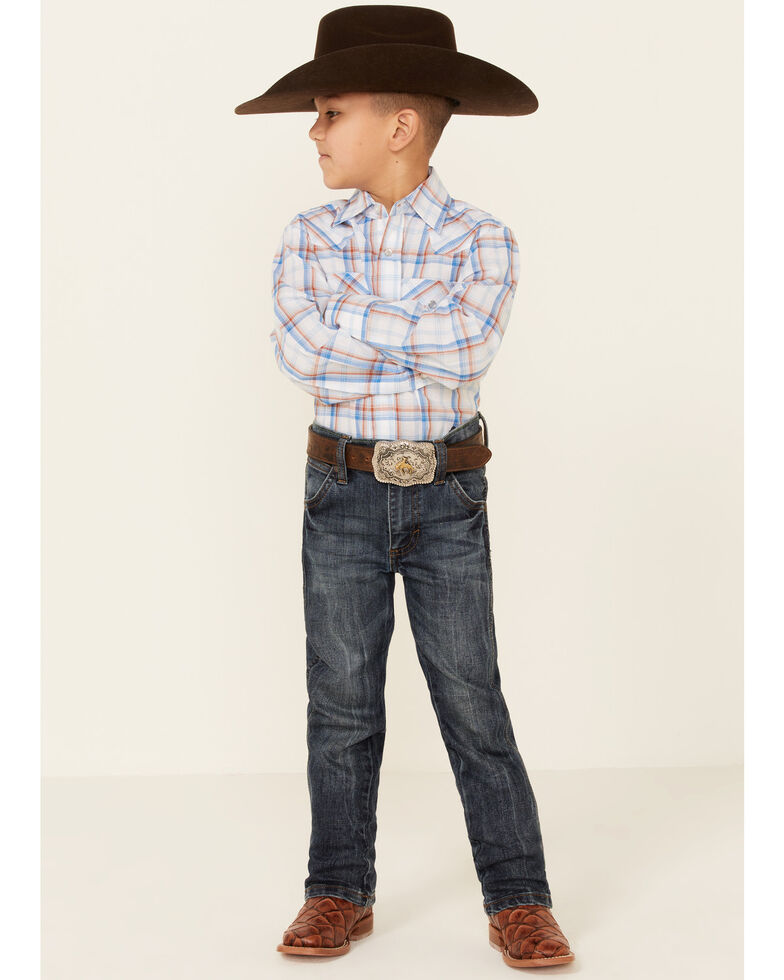Ely Walker Boys' White Plaid Long Sleeve Snap Western Shirt , White, hi-res