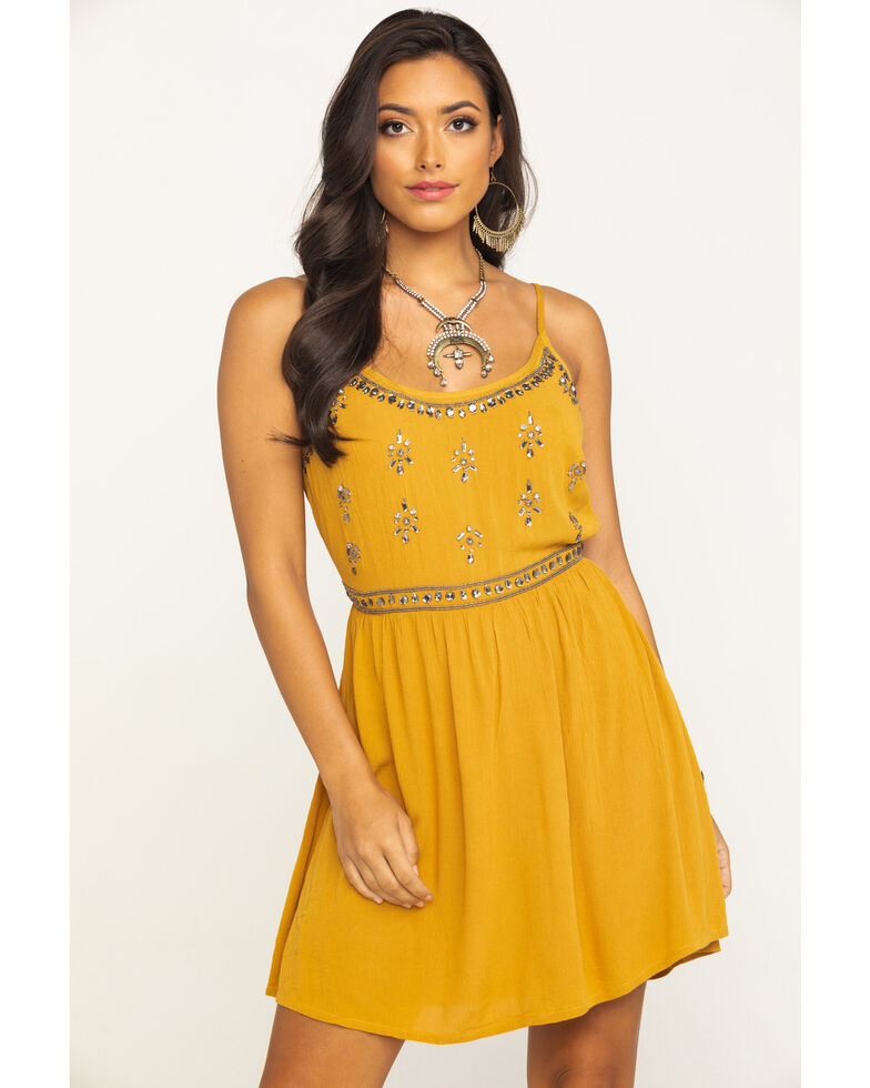 Shyanne Women's Mustard Beaded Bodice Dress, Dark Yellow, hi-res