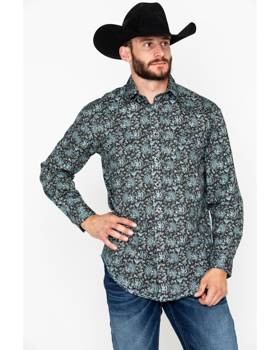 Rough Stock By Panhandle Floral Print Long Sleeve Western Shirt , Black, hi-res