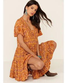 Patrons of Peace Women's Border Print Toluca Dress, Rust Copper, hi-res