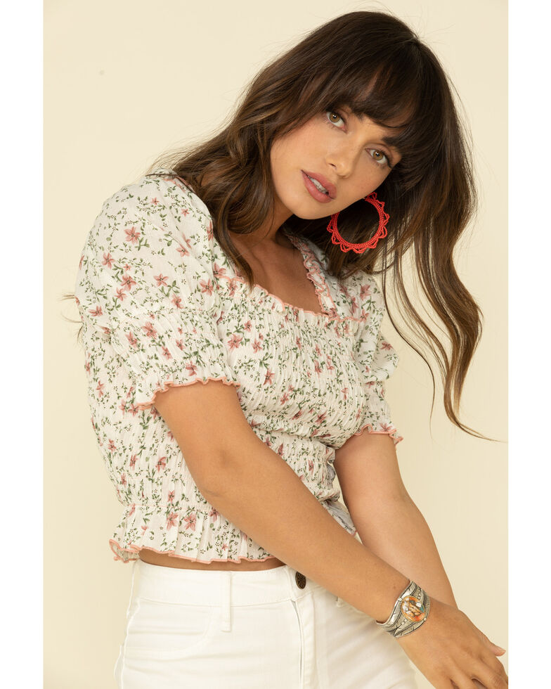 Very J Women's Blush Floral Print Smocked Peasant Top, Blush, hi-res