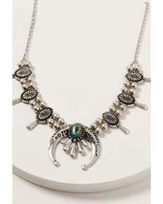 Shyanne Women's Mystic Summer Concho Squash Blossom Necklace, Silver, hi-res