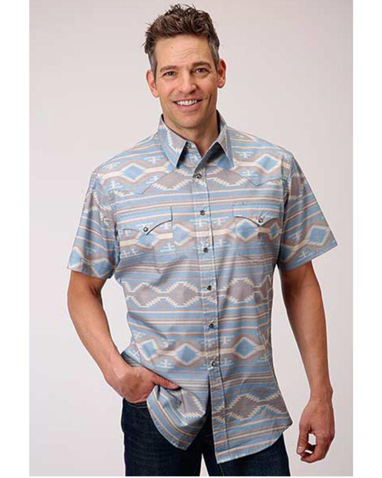 Roper Men's Blue & Tan Aztec Print Short Sleeve Snap Western Shirt , Blue, hi-res