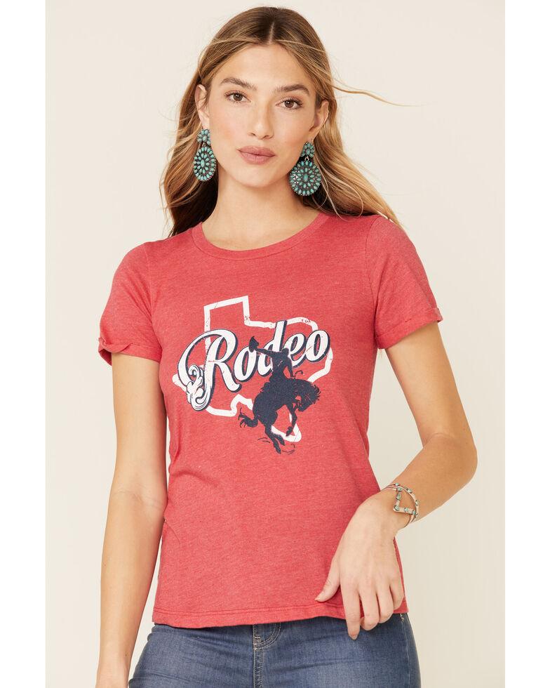 Rock & Roll Denim Women's Red Texas Rodeo Tee, Red, hi-res