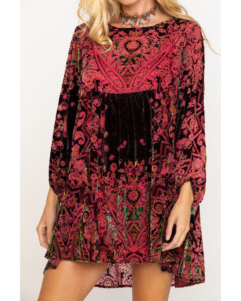Free People Women's Mirror Mirror Velvet Jacquard Babydoll Dress, Wine, hi-res