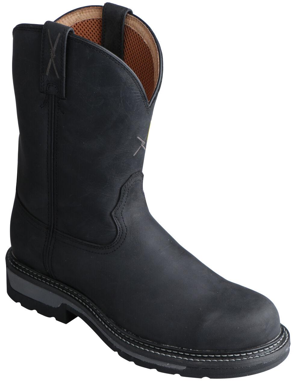 Twisted X Black Lite Cowboy Work Boots - Steel Toe , Distressed, hi-res