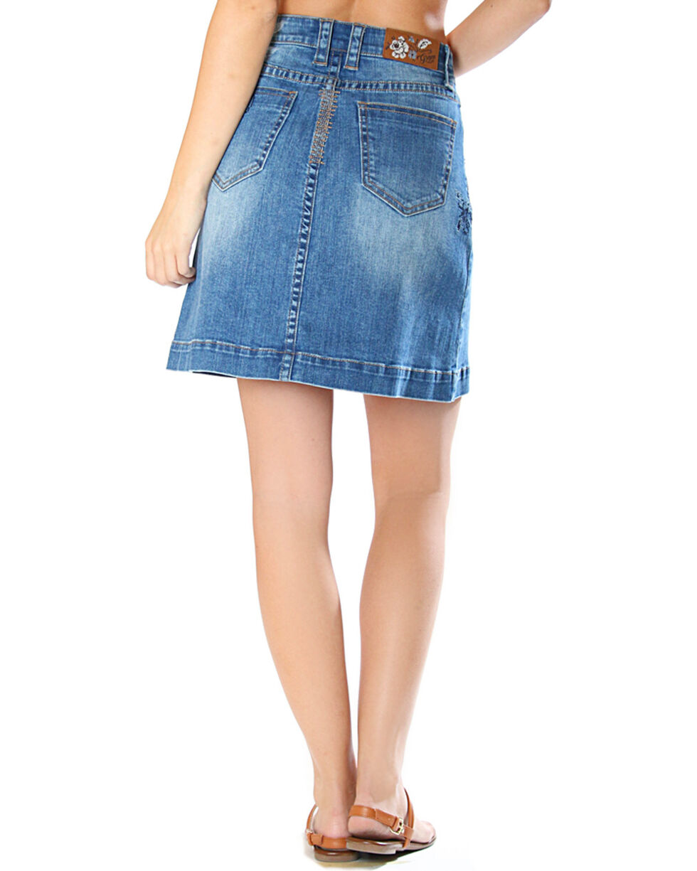 Grace in LA Women's Button Front Denim Skirt, Indigo, hi-res