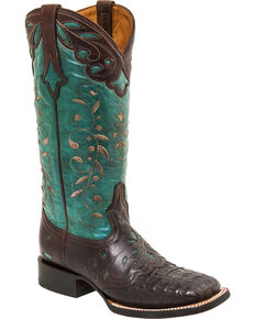 Lucchese Handmade Sherilyn Caiman Cowgirl Boots - Square Toe, Brown, hi-res