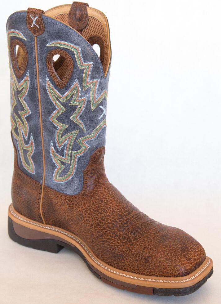 Twisted X Men's Navy Lite Cowboy Work Boots - Steel Toe , Peanut, hi-res