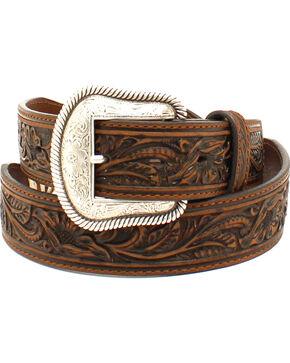 Nocona Men's Scalloped Rawhide Leather Belt , Brown, hi-res