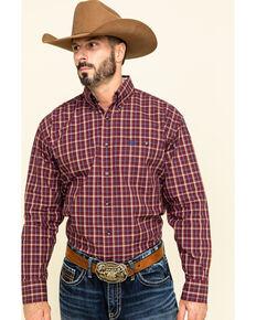 George Strait by Wrangler Men's Burgundy Med Plaid Button Long Sleeve Western Shirt , Burgundy, hi-res