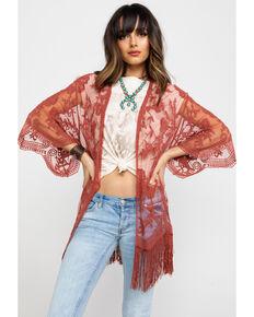 Jody of California Women's Lace Fringe Hem Kimono , Rust Copper, hi-res