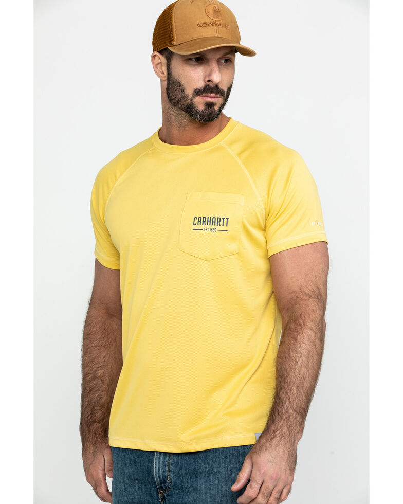 Carhartt Men's Yellow Force Birdseye Graphic Short Sleeve Work T-Shirt - Big , Yellow, hi-res