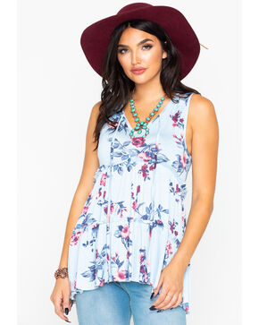 Panhandle Women's Light Blue Floral Print Layered Ruffle Tie Top , Light Blue, hi-res
