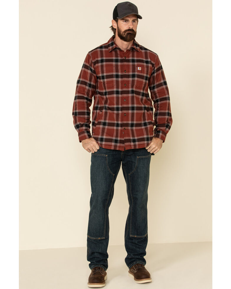 Carhartt Men's Iron Ore Plaid Rugged Flex Flannel Fleece Lined Long Sleeve Work Shirt, Steel, hi-res