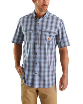 Carhartt Men's Blue Rugged Flex Rigby Plaid Short Sleeve Work Shirt - Tall , Blue, hi-res