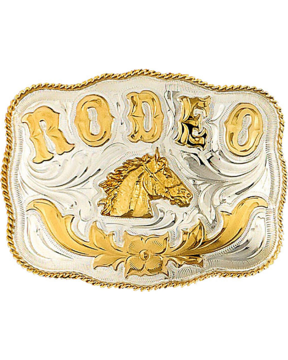 Western Express Men's Silver Rodeo Horsehead Belt Buckle , Silver, hi-res