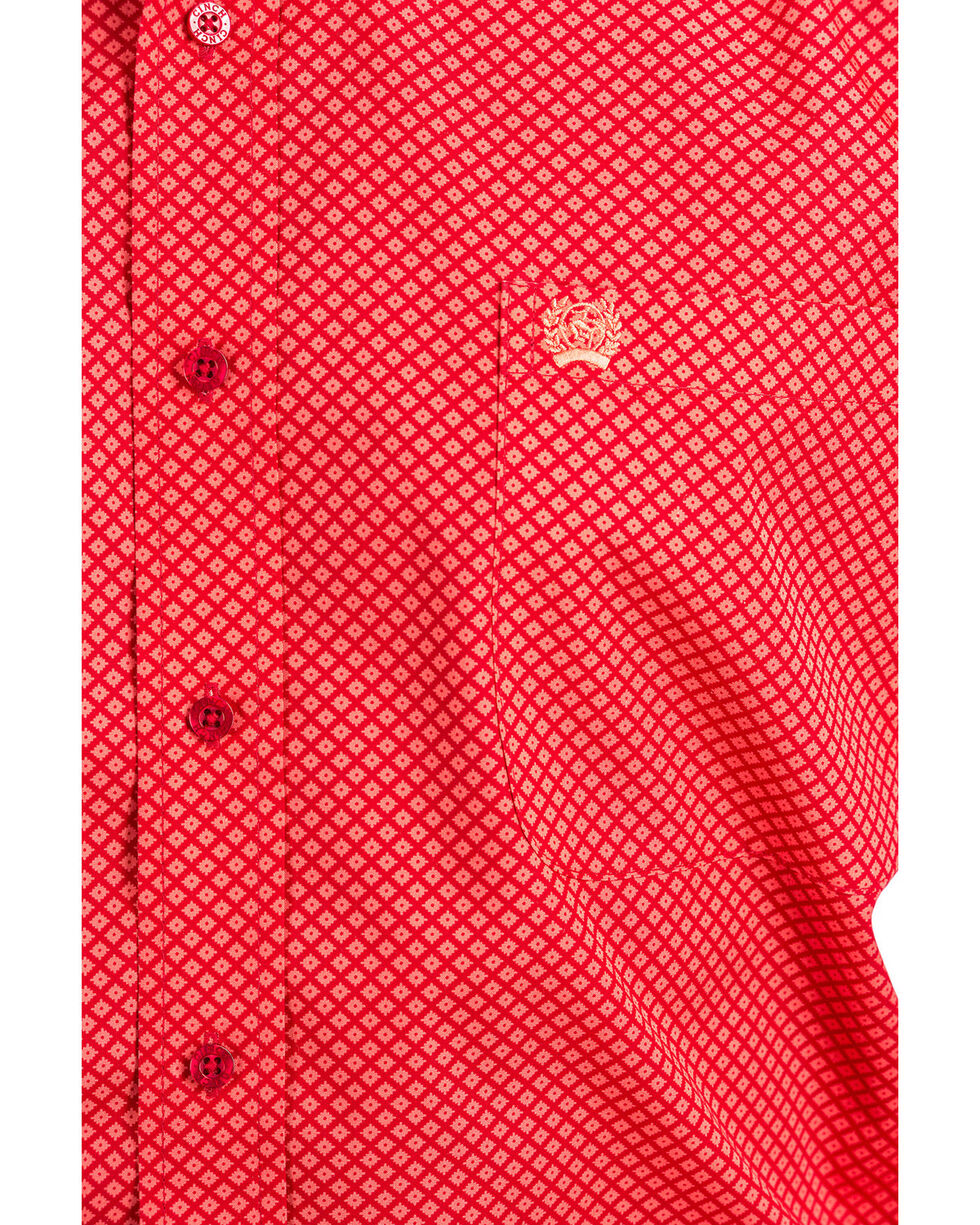 Cinch Men's Red Print Plain Weave Long Sleeve Western Shirt , Red, hi-res