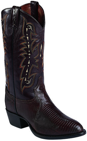 Tony Lama Felton Chocolate Lizard Exotic Boots - Medium Toe , Chocolate, hi-res