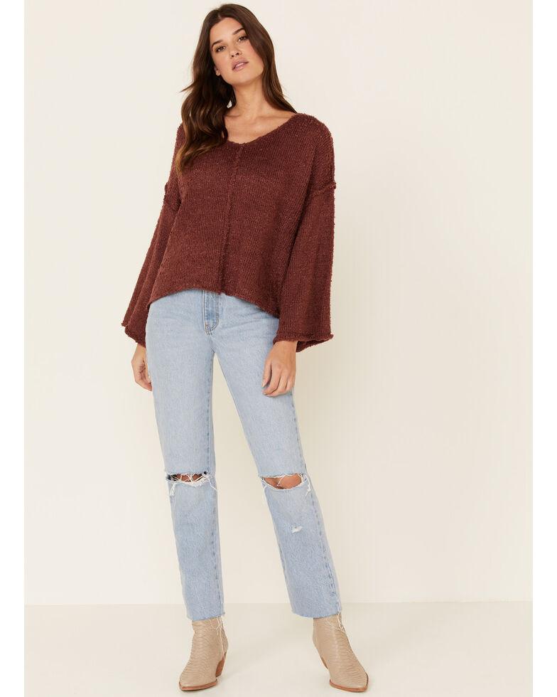 Very J Women's Knit Hi-Low Bell Sleeve Sweater , Rust Copper, hi-res