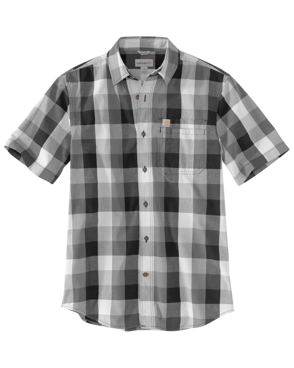Carhartt Men's Charcoal Essential Plaid Short Sleeve Work Shirt , Charcoal, hi-res