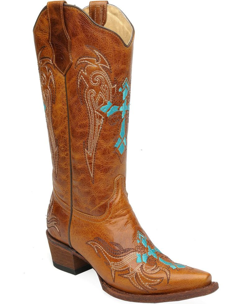 Circle G Retro Wing & Cross Embroidered Cowgirl Boots - Snip Toe, Cognac, hi-res