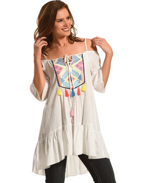Young Essence Women's Cold Shoulder Tassel Tunic, White, hi-res