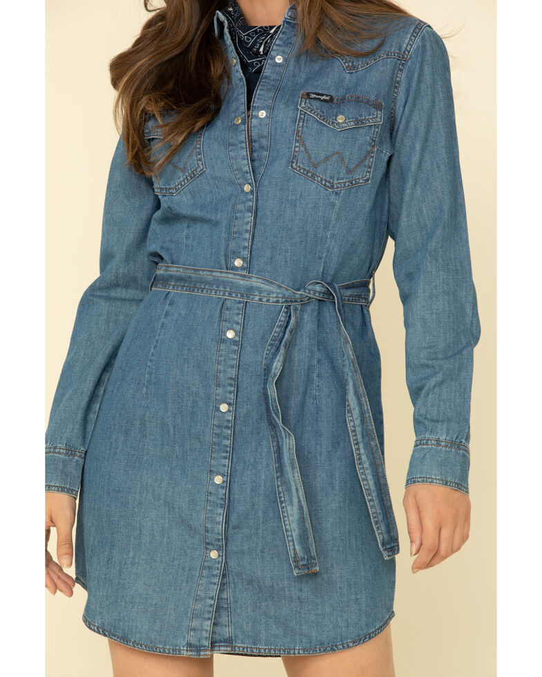 Wrangler Women's Medium Wash Denim Western Shirt Dress, Blue, hi-res