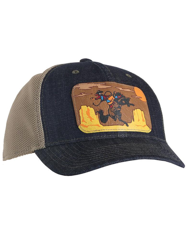 Cinch Women's Indigo Faux Leather Trucker Ball Cap , Indigo, hi-res