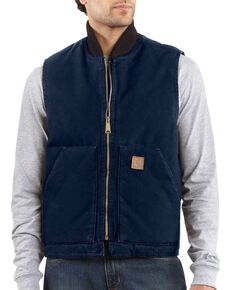 Carhartt Sandstone Work Vest - Big & Tall, Midnight, hi-res