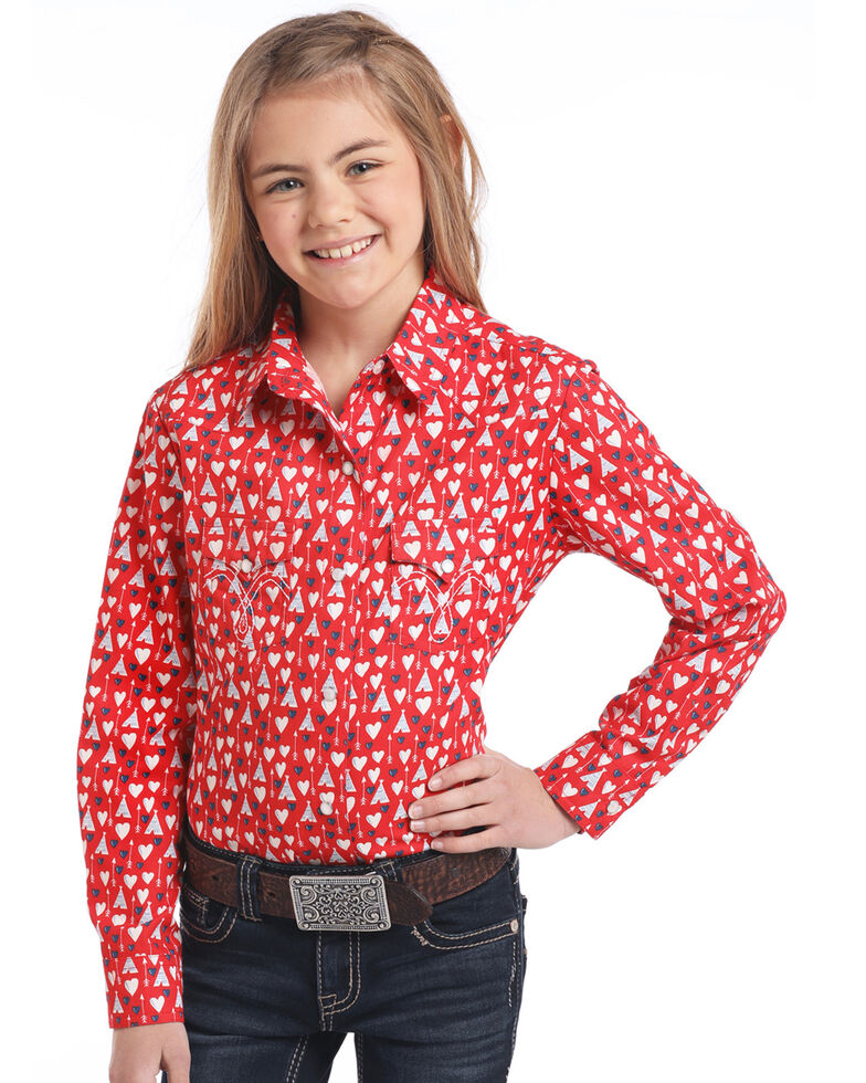 White Label by Panhandle Girls' Red Hearts & Teepee Long Sleeve Western Shirt, Red, hi-res