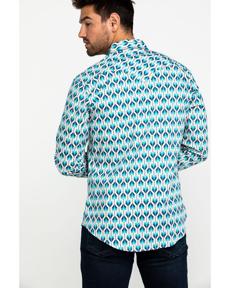 Rock & Roll Cowboy Men's Ombre Arrow Print Long Sleeve Western Shirt , Teal, hi-res