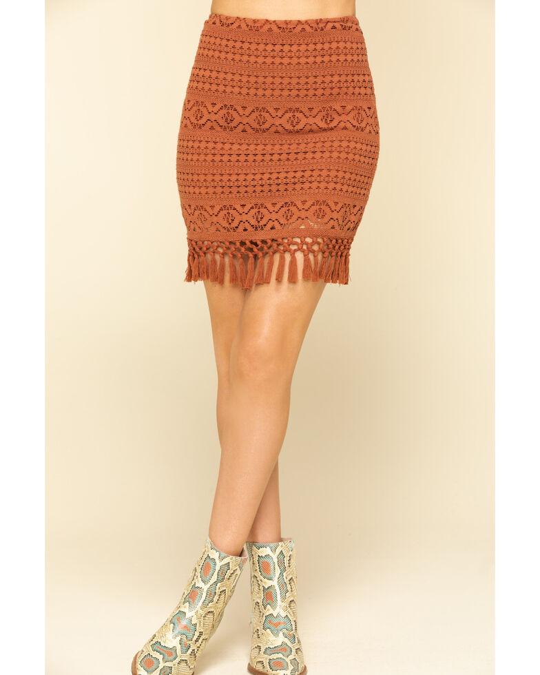 Shyanne Women's Brown Crochet Fringe Mini Skirt, Brown, hi-res