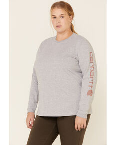 Carhartt Women's Logo Long Sleeve Work T-Shirt - Plus, Heather Grey, hi-res