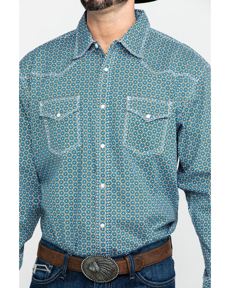 Wrangler 20X Men's Advanced Comfort Blue Geo Print Long Sleeve Western Shirt , Blue, hi-res