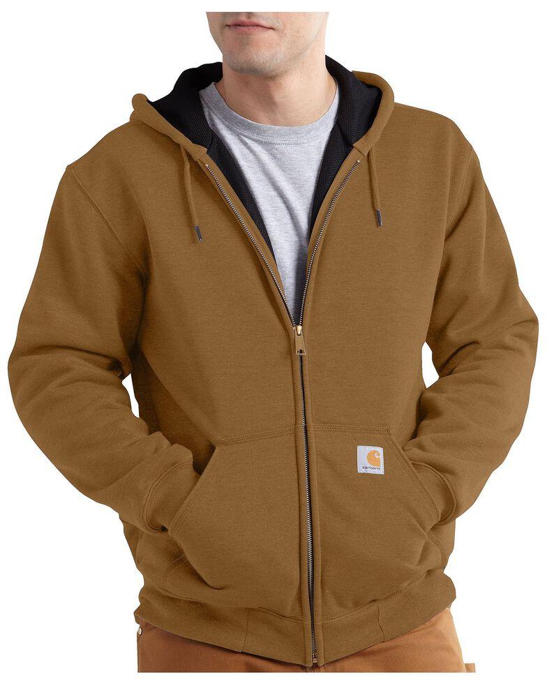 Carhartt Men's Rain Defender Rutland Thermal-Lined Hooded Zip-Front Work Jacket, Brown, hi-res