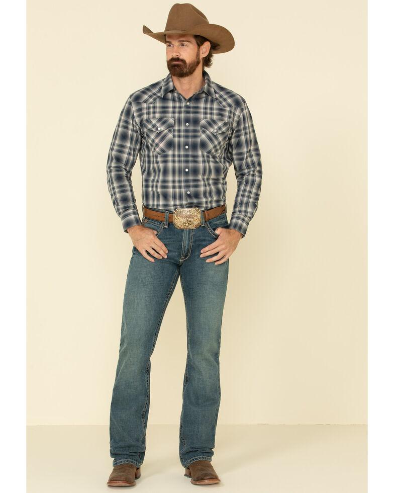Pendleton Men's Navy Frontier Ombre Plaid Long Sleeve Western Shirt , Navy, hi-res