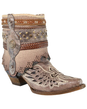 Corral Women's Flipped Shaft Inlay And Jute Strapped Fashion Booties - Snip Toe, Brown, hi-res