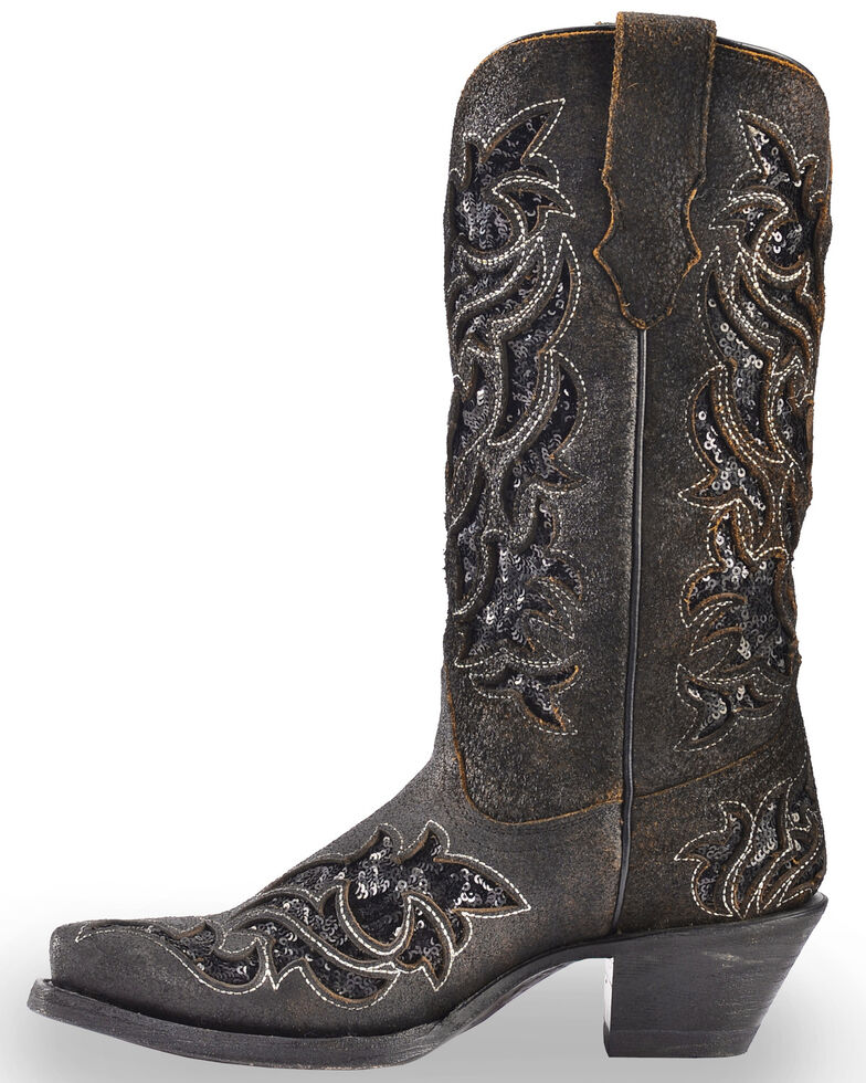 Corral Women's Sequin Inlay Cowgirl Boots - Snip Toe, Brown, hi-res