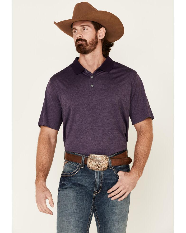 Cody James Core Men's Purple Burmuda Heather Short Sleeve Polo Shirt , Purple, hi-res