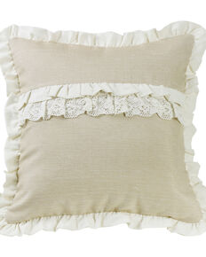 HiEnd Accents Charlotte Ruffle Trim and Lace Accent Pillow, Cream, hi-res