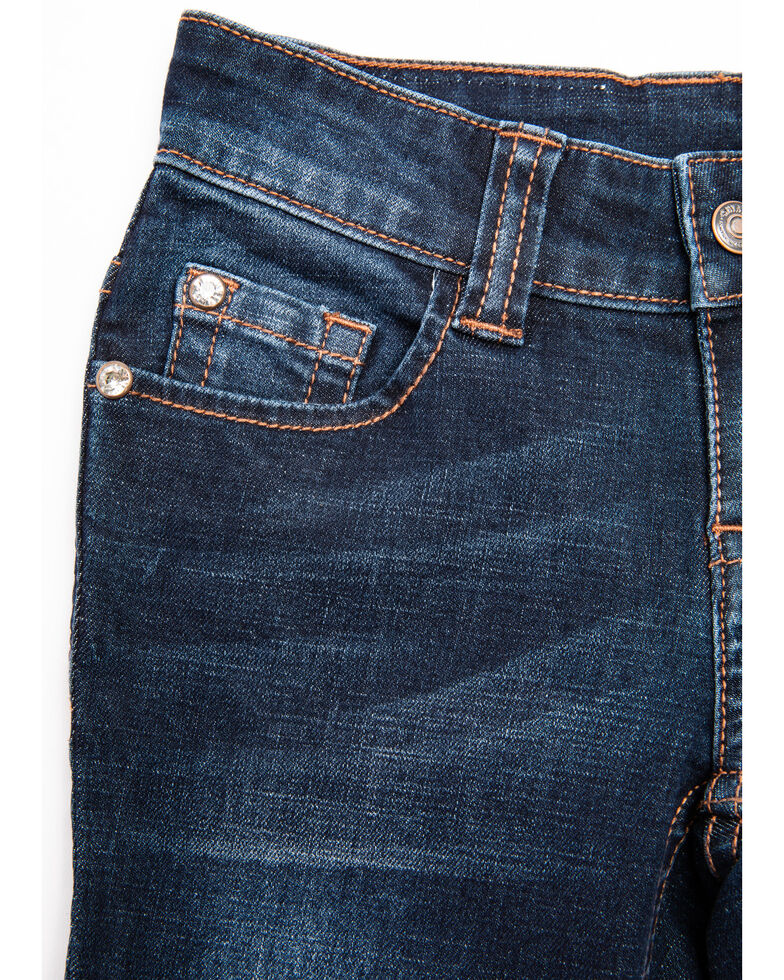 Shyanne Girls' Abstract Pocket Bootcut Jeans, Blue, hi-res