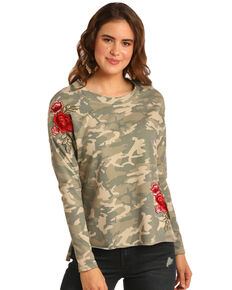 Rock & Roll Cowgirl Women's Camo & Floral Patch Long Sleeve Top, Camouflage, hi-res