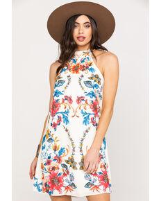 b5785cdcf50d Flying Tomato Women s Ivory Floral Halter Shift Dress