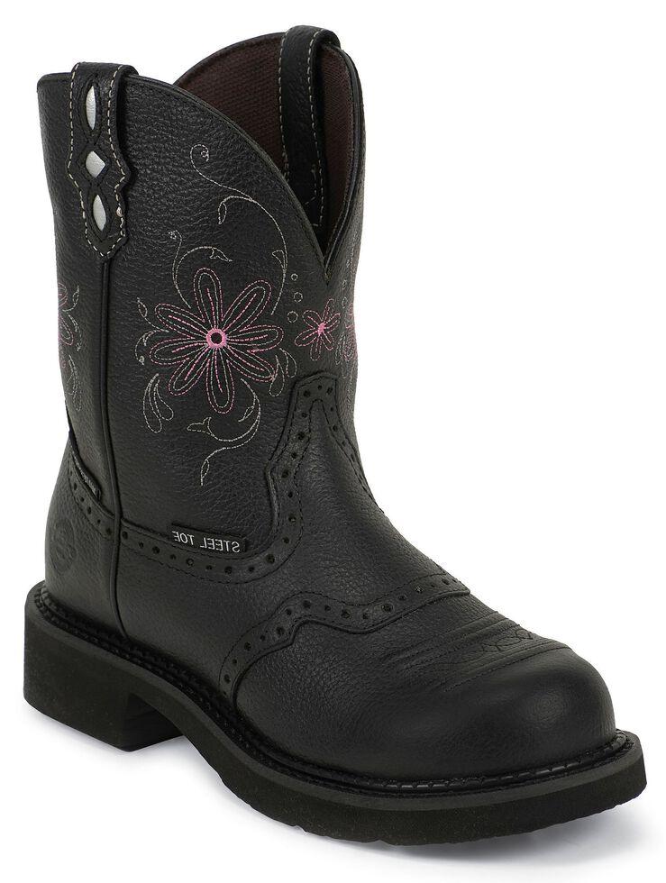Justin Gypsy Women's Wanette Black EH Work Boots - Steel Toe, Black, hi-res