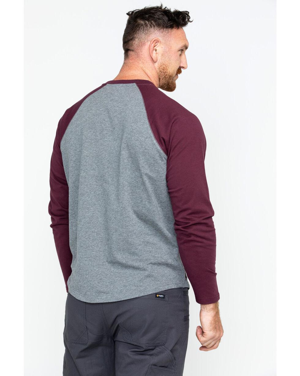 Hawx® Men's Solid Long Sleeve Baseball Raglan Crew Work Shirt , Grey, hi-res