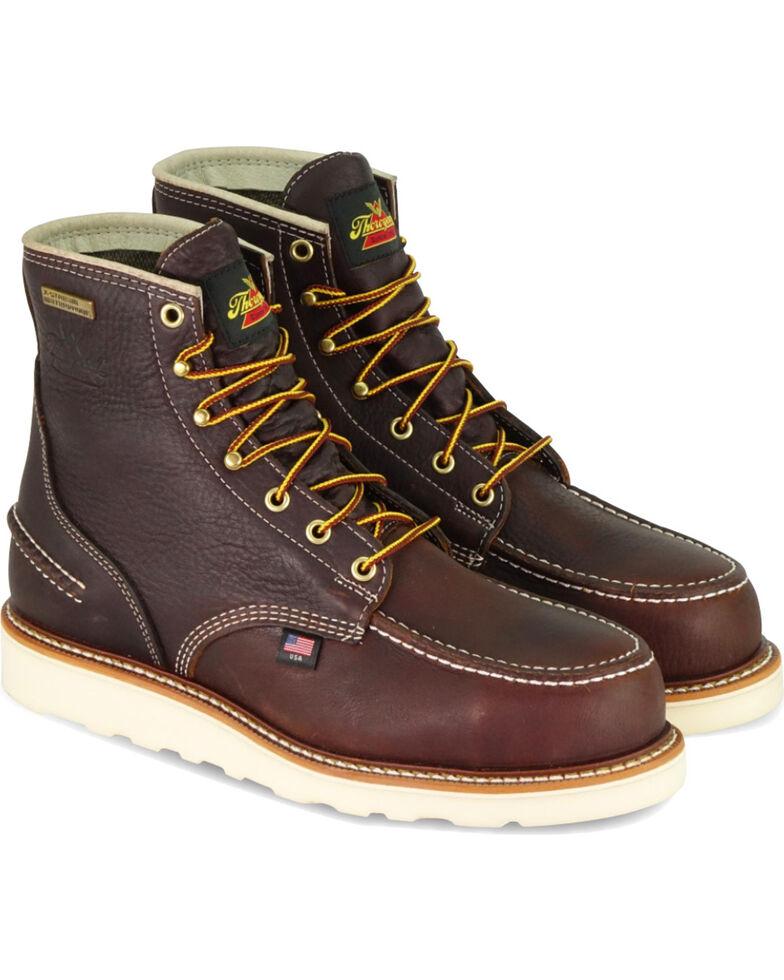 """Thorogood Men's Brown 6"""" American Heritage Waterproof Work Boots - Round Toe , Brown, hi-res"""