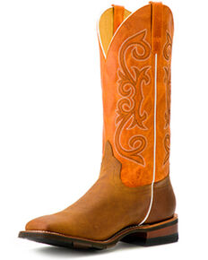 HorsePower Men's Barking Iron Western Boots - Wide Square Toe, Brown, hi-res