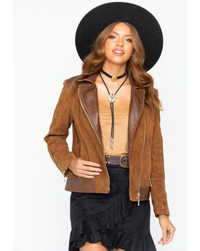 Scully Women's Leather and Suede Moto Jacket  , Camel, hi-res